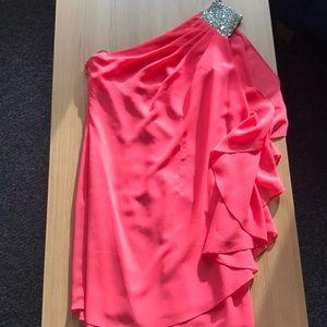 Pink Off-the-Shoulder Cocktail Dress